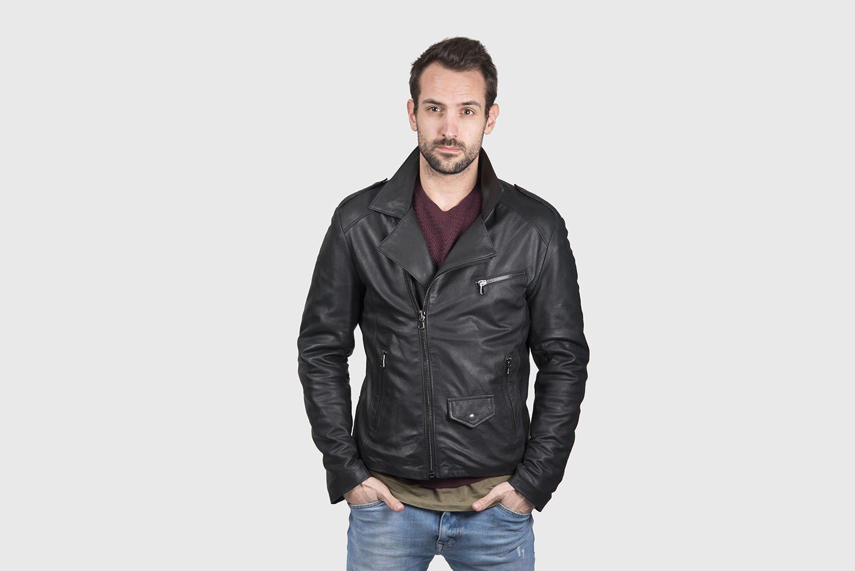 quality design 9cfa4 da25b Giacca chiodo uomo nera in pelle di agnello vegetale