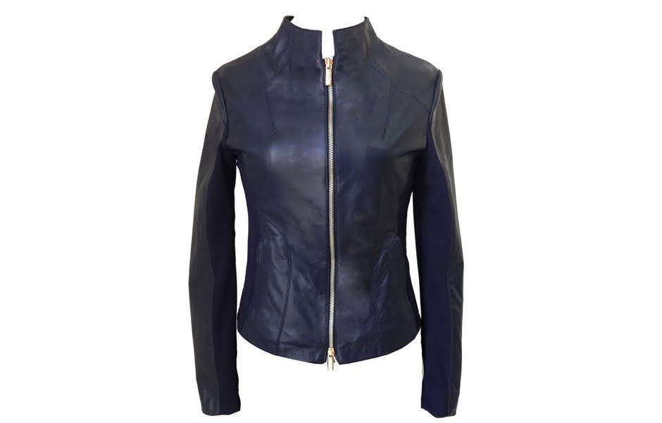 factory authentic ea66f c8e8a Giacca donna in pelle nera di agnello nappato con inserti in jersey