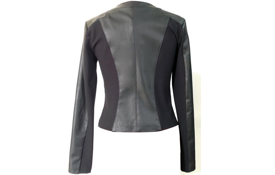 best website 0420a d80e2 Giacca donna in pelle di agnello nappato e inserti in jersey