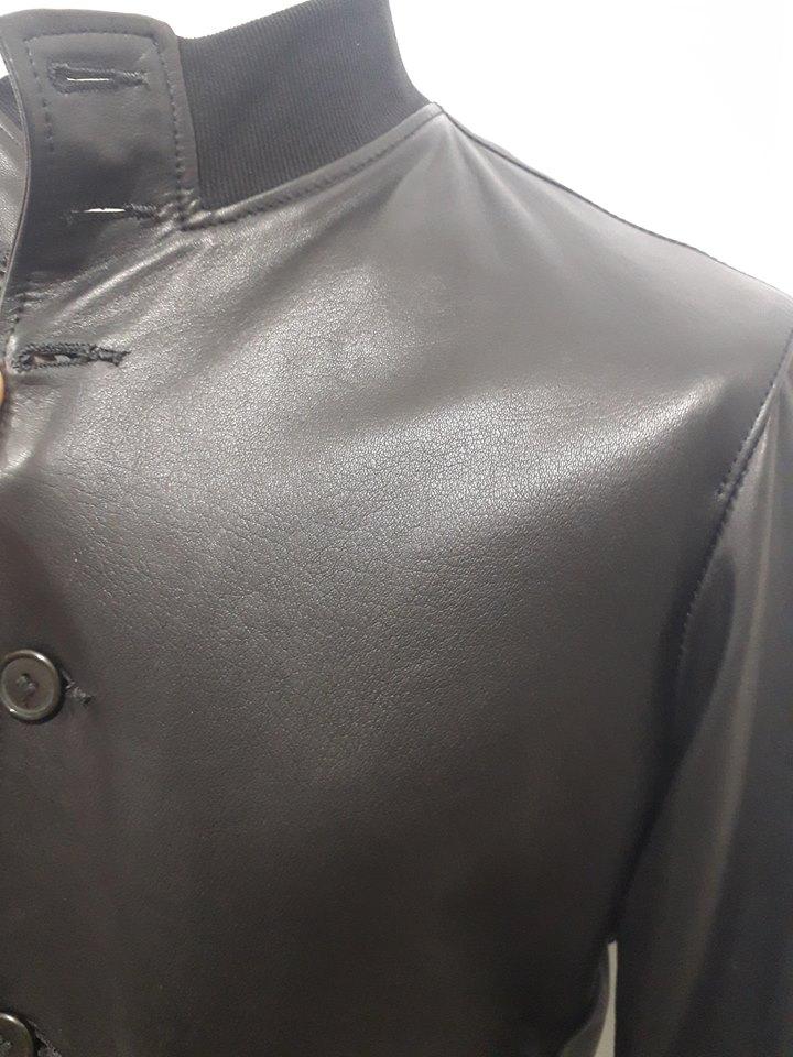 Giacca uomo 100% vera pelle agnello nappato con chiusura bottoni