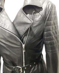 Giacca donna lunga nera biker in vera pelle_Aris_la_pelle_murier_2