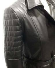 Giacca donna lunga nera biker in vera pelle_Aris_la_pelle_murier_4